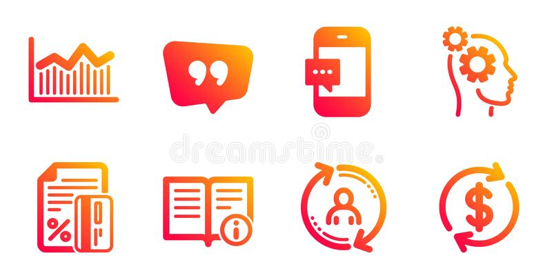 Technical info, Money diagram and Thoughts icons set. Credit card, Smartphone message and Quote bubble signs. Vector vector illustration
