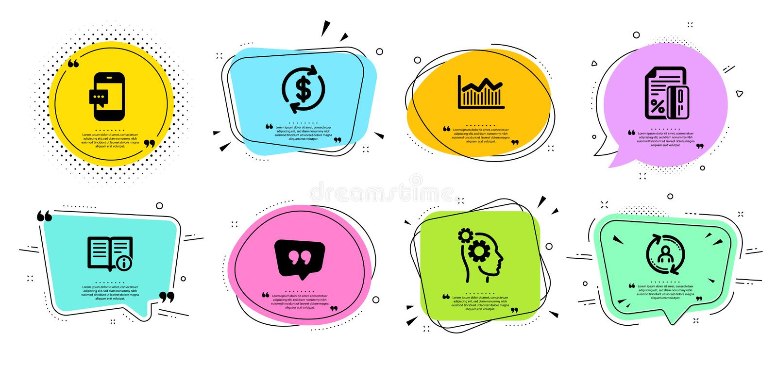 Technical info, Money diagram and Thoughts icons set. Credit card, Smartphone message and Quote bubble signs. Vector royalty free illustration