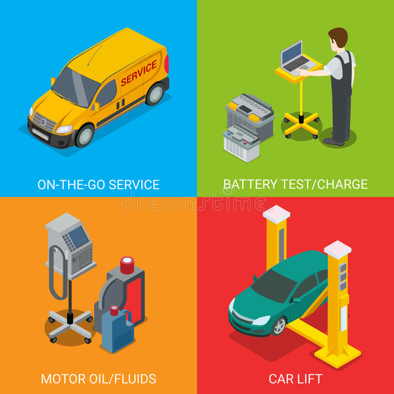 Technical inspection car service vector diagnostic. Technical inspection car service mockup vector set. Isometric checking vehicle web site illustration. Battery vector illustration