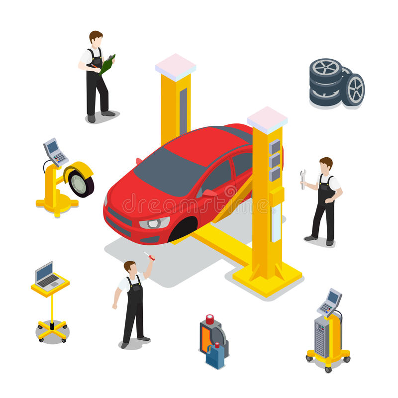 Technical inspection car service vector diagnostic. Technical inspection red car service mockup vector template. Isometric checking vehicle web site illustration vector illustration