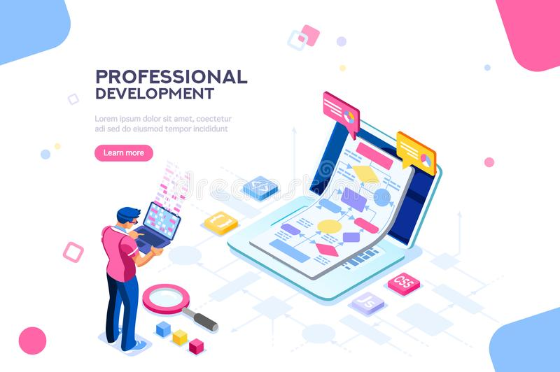 Technical interactive Template for Website. Programmer person and interactive technical software. Professional code for company concept with characters and text vector illustration