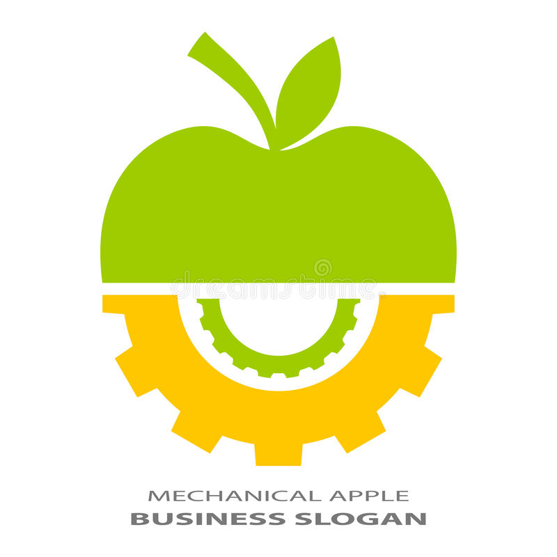 Technical logo. Abstract technical logo with apple and gears royalty free illustration