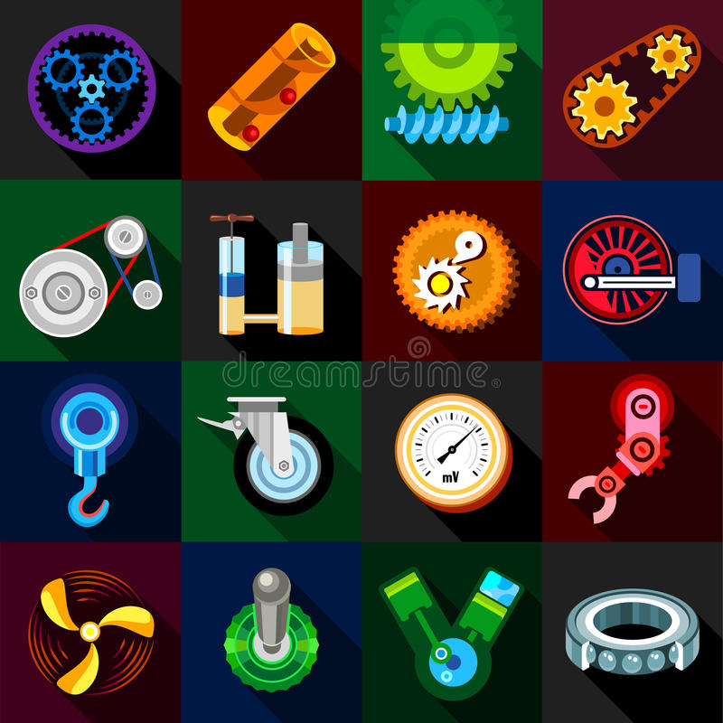 Free Technical Mechanisms Icons Set, Flat Style Royalty Free Stock Photos - 86408228