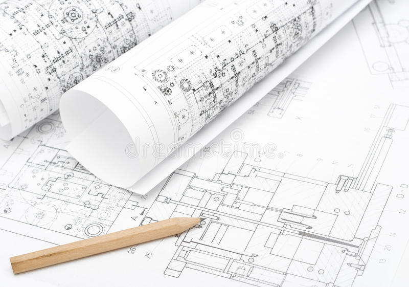 Technical Plans Royalty Free Stock Photo