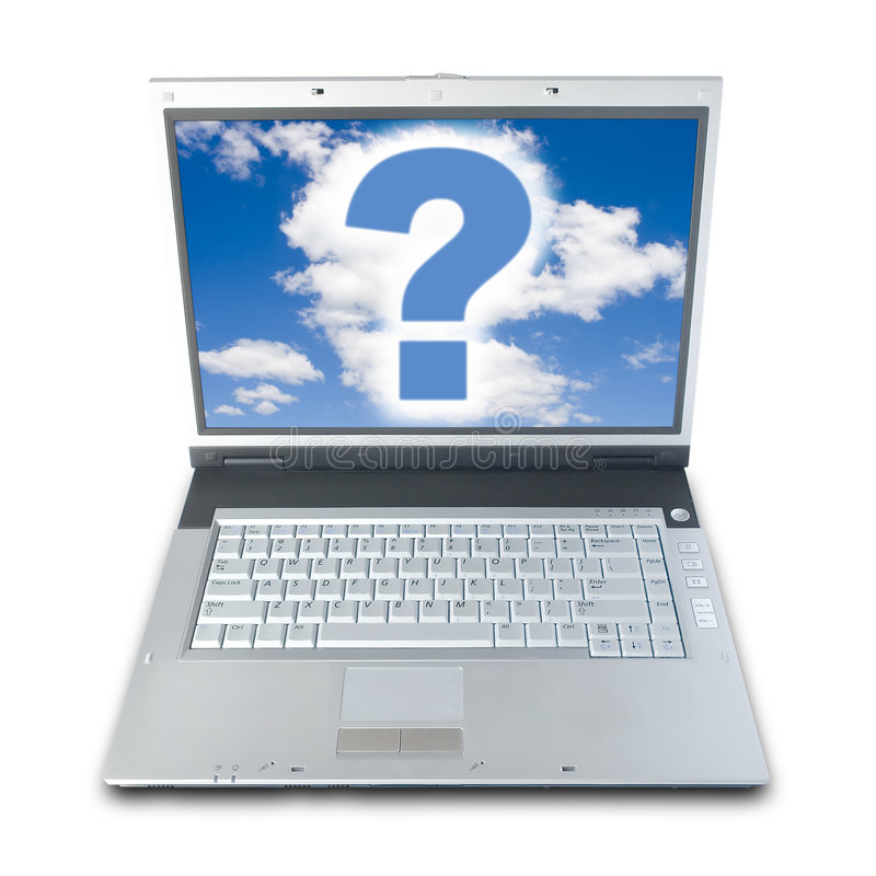 Technical Question. Question Mark On Laptop's Screen (with clipping path for easy background removing if needed