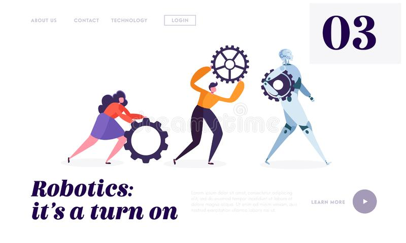 Technical Service Robot Landing Page. Special Crew of Maintenance Machine. Character Moving Replacement Part. For Change Useless Detail of Bot Website or Web vector illustration