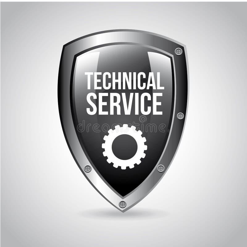 Technical service shield vector illustration