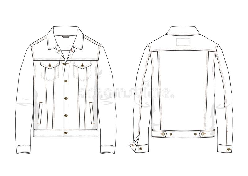 Technical sketch of denim jacket in vector. Technical sketch of man denim jacket in vector. Fashion illustration stock illustration