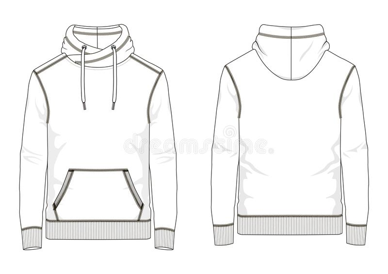 Technical sketch of man sweatshirt in vector. Technical sketch of man sweatshirt with hooded and kangaroo pocket in vector vector illustration