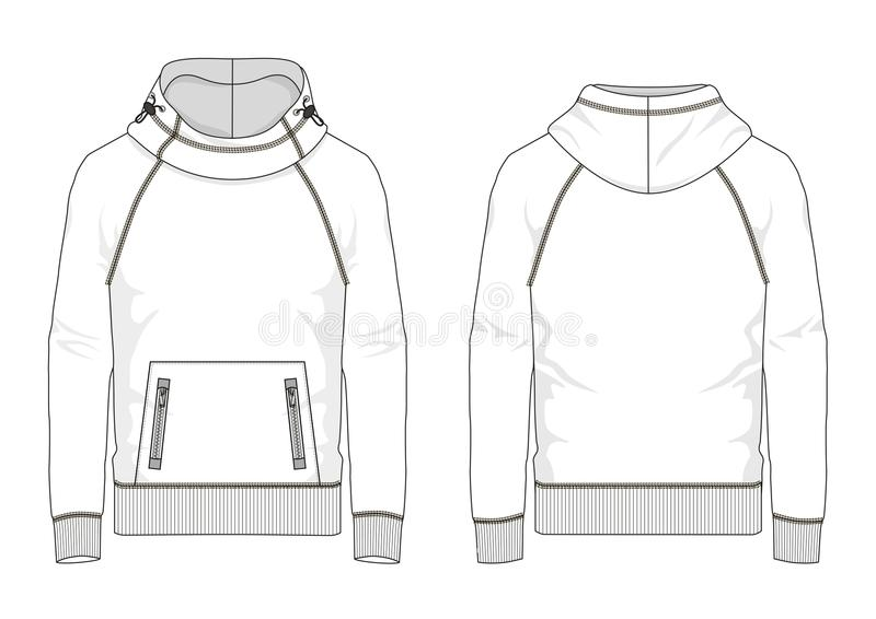 Technical sketch of man sweatshirt in vector. Technical sketch of man raglan sweatshirt with hooded and kangaroo pocket in vector stock illustration