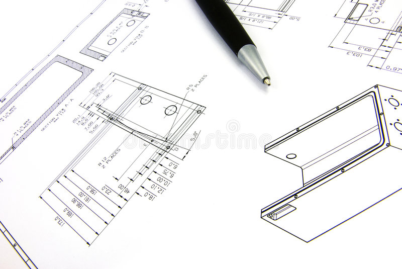 Technical sketch and pen 2 stock photo