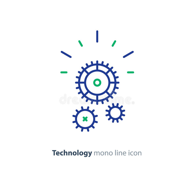 Technical smart solution, cogwheel line icon, integration concept. Business technology development, technical support gear wheel, vector mono line icon vector illustration