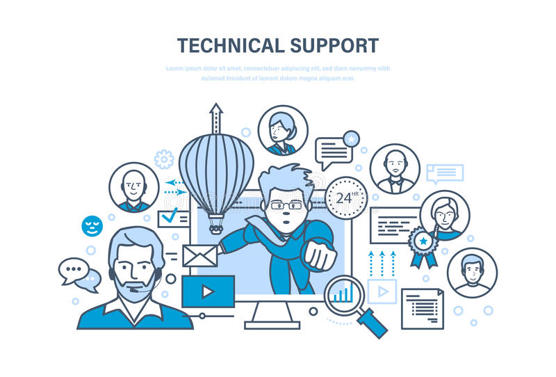 Technical support, call center, consultation, information technology, system consulting clients. Technical support, call center, consultation and communication vector illustration