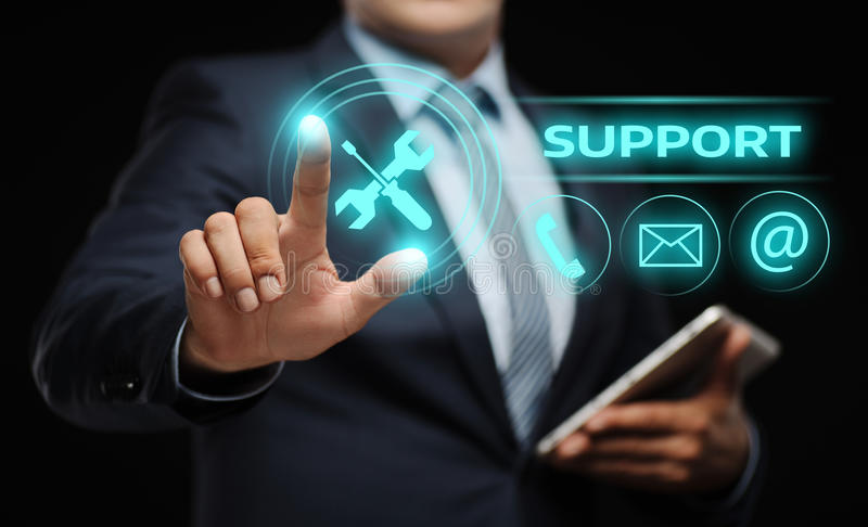 Technical Support Center Customer Service Internet Business Technology Concept. Businessman press button. Technical Support Center Customer Service Internet