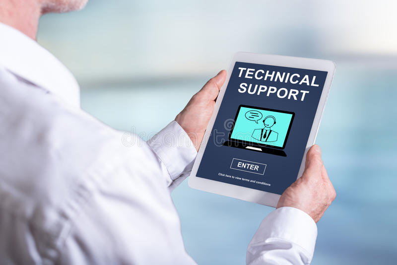 Technical support concept on a tablet royalty free stock photos