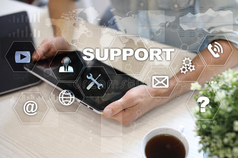 Technical Support and Customer Service. Business and Technology concept. stock photo