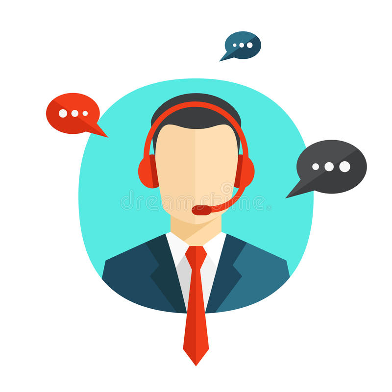 Technical support flat illustration. Male call center operator avatar icon with a faceless man wearing headsets with colorful speech bubbles conceptual of client vector illustration