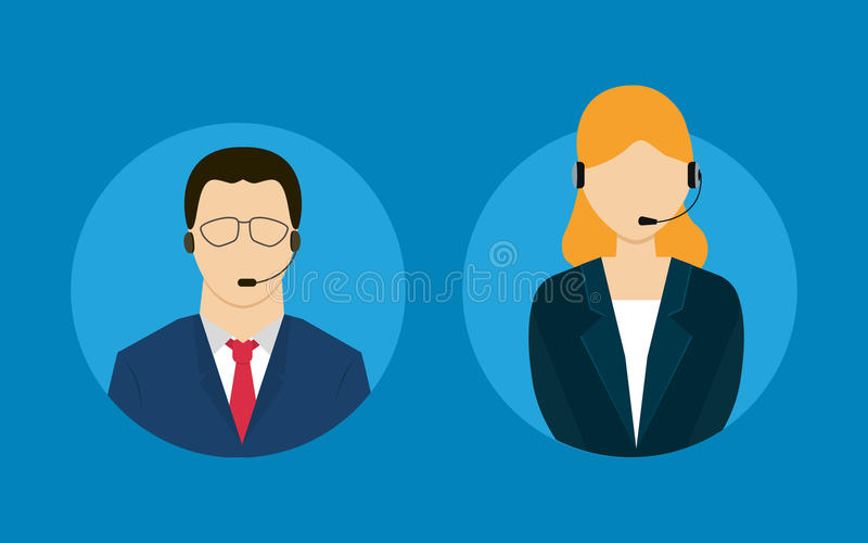 Technical support flat illustration. Man and woman. Vector illustration vector illustration
