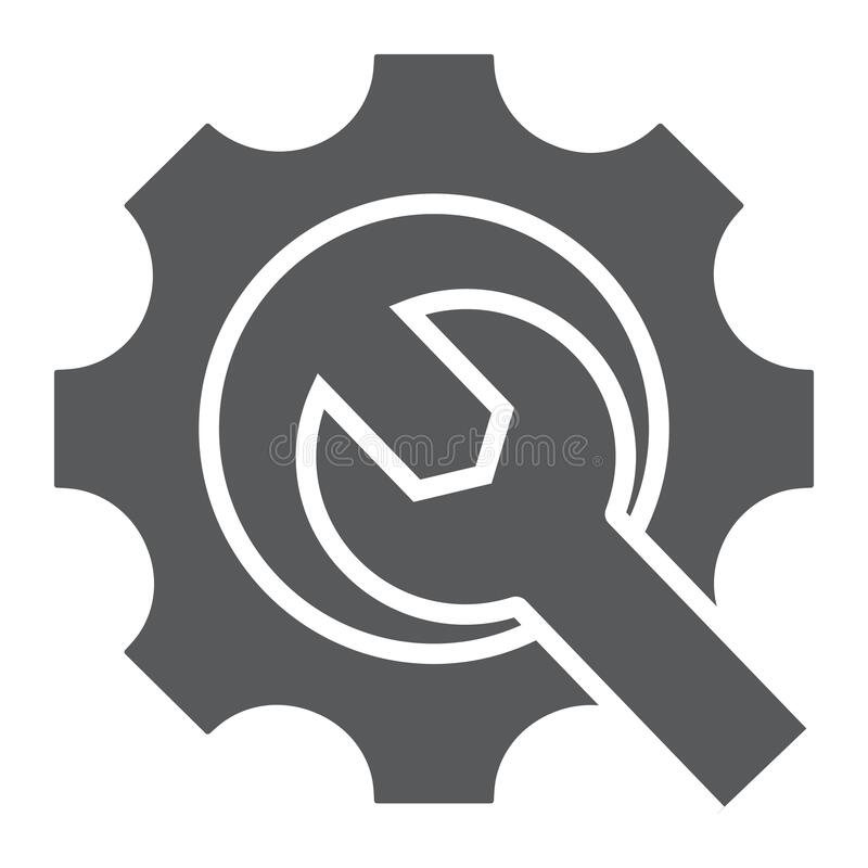 Maintenance Services Sign Spanner Troubleshooting Icon: Wrench Glyph Icon, Tool And Repair, Spanner Sign, Vector