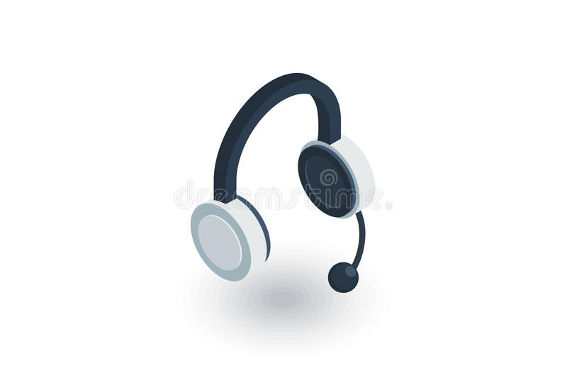 Technical support, headphones microphone, operator isometric flat icon. 3d vector vector illustration