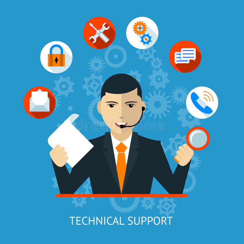 Technical support Icon. In flat style vector illustration stock illustration