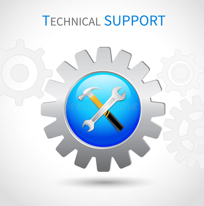 Technical support icon. Technical support toothed ring with hammer and spanner wrench web symbol icon royalty free illustration