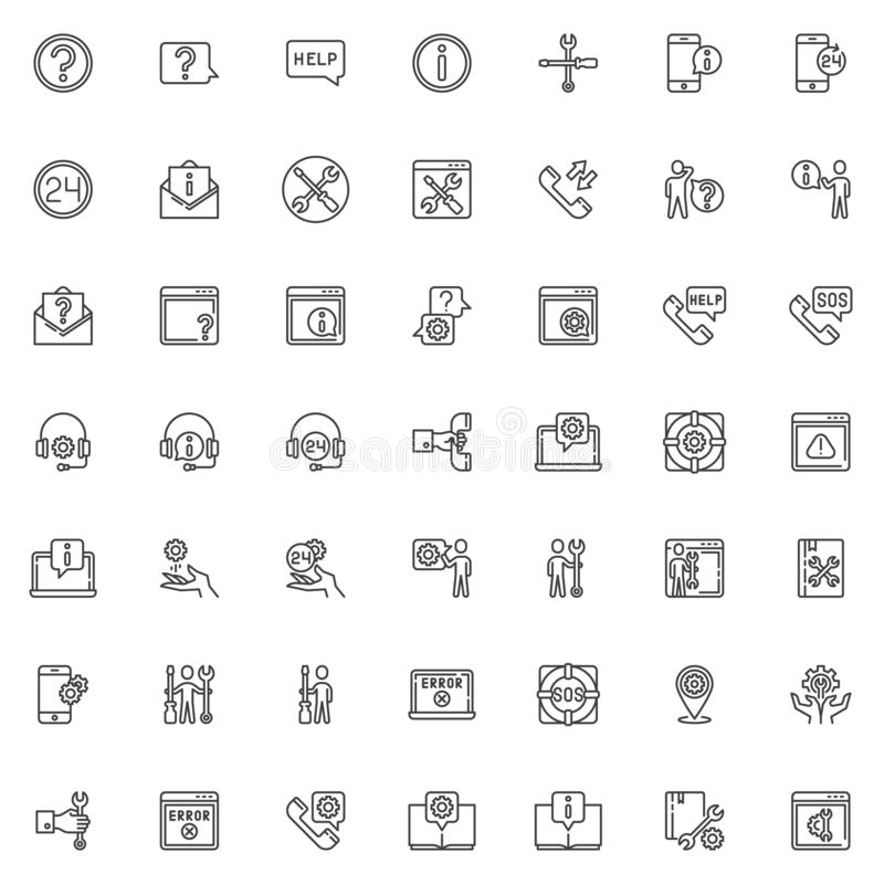 Technical support line icons set vector illustration