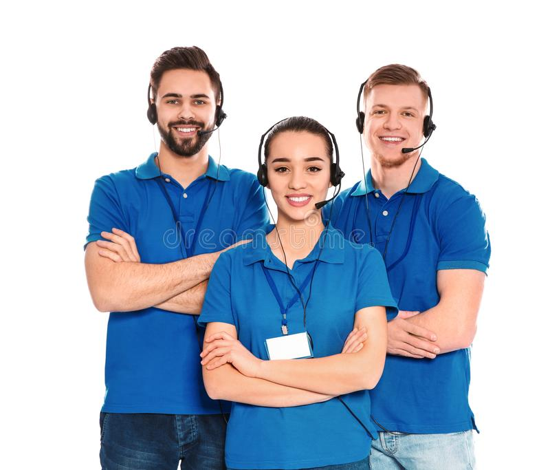 Technical support operators with headsets isolated. On white royalty free stock images