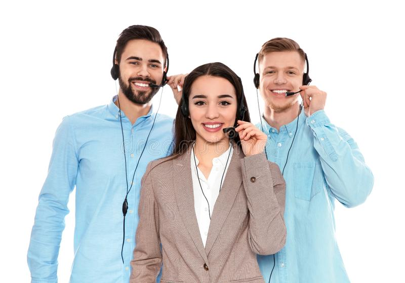 Technical support operators with headsets isolated. On white stock photos