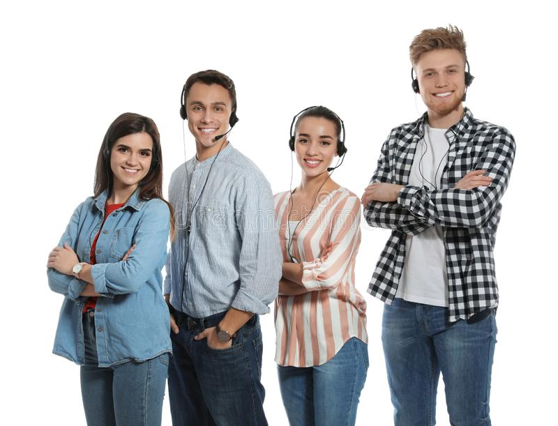 Technical support operators with headsets on white. Background royalty free stock photography
