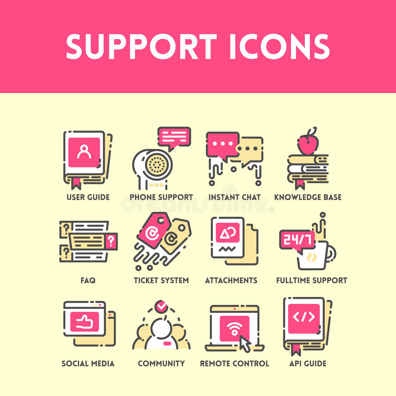 Technical support and service icon set. Technical support and service, social media and community help, phone support and ticket system. Flat outline color icon vector illustration