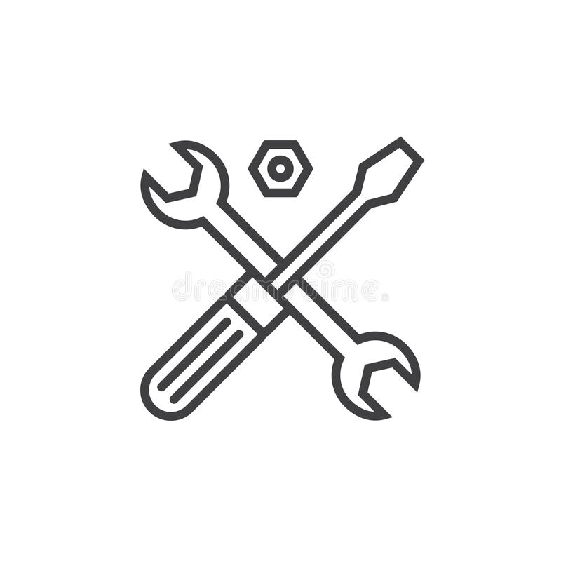 Technical support symbol. Tools line icon, outline vector sign,. Linear pictogram isolated on white. logo illustration royalty free illustration