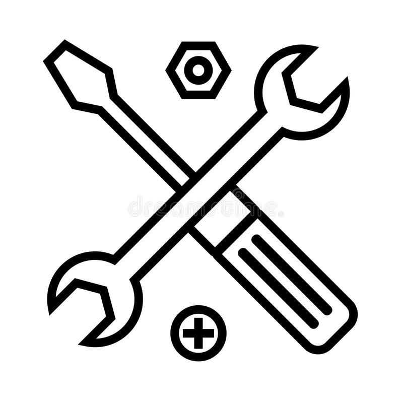 Technical support symbol. Tools outline icon stock illustration
