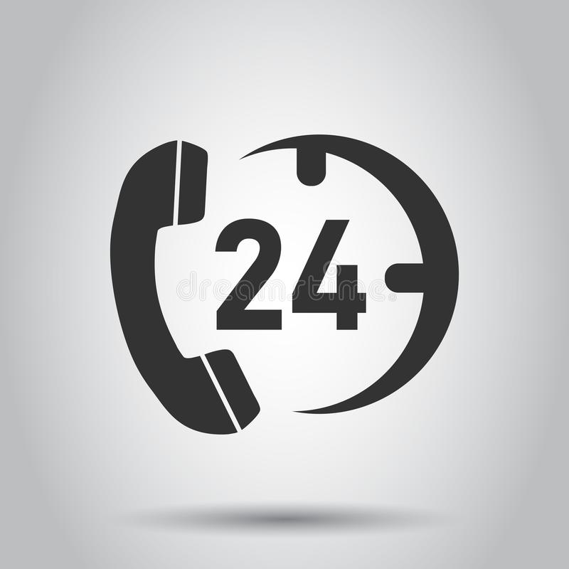Technical support 24/7 vector icon in flat style. Phone clock help illustration on white background. Computer service support. Concept stock illustration