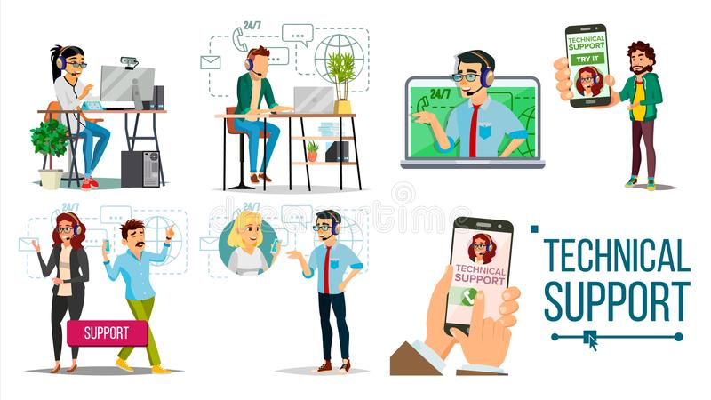 Technical Support Vector. Online 24 7 Technical Support. Headset. Support Service. Operator And Customer. Answering vector illustration