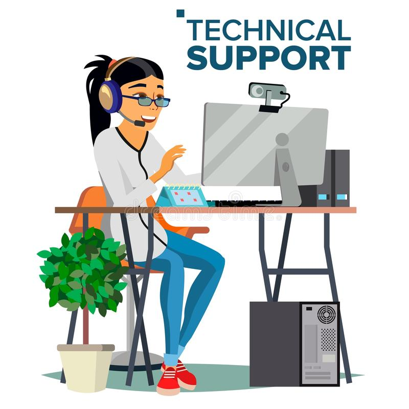 Technical Support Vector. Online Operator. Specialist Ready To Solve Problem. Flat Isolated Illustration stock illustration
