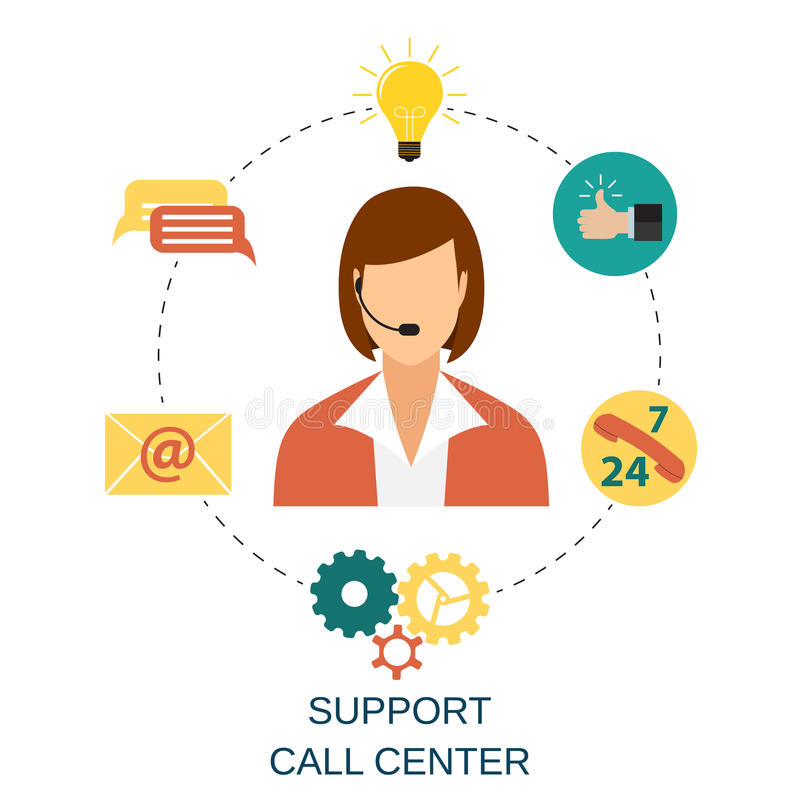 Technical support woman operator vector illustration