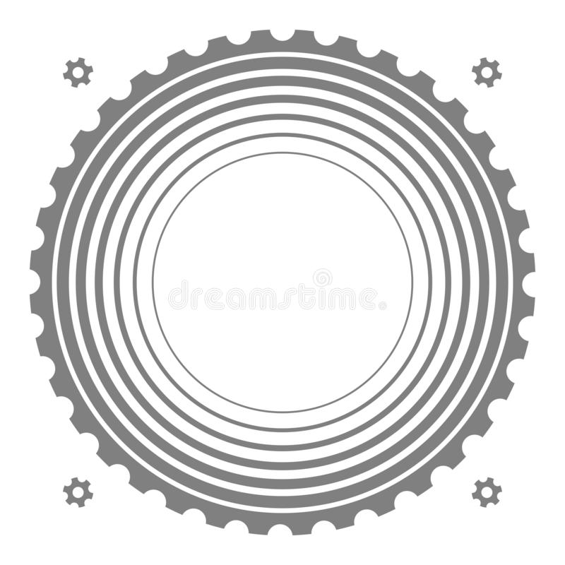 Technical background with concentric circles and gear silhouettes. stock illustration