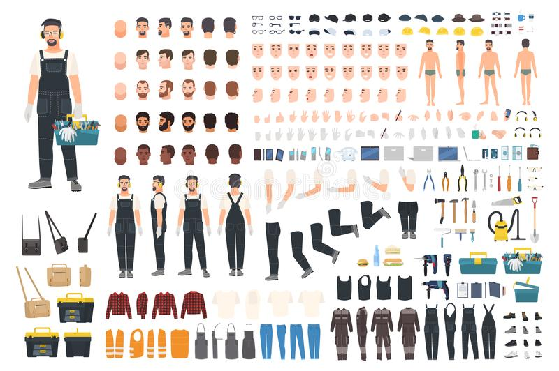 Technical worker creation kit. Set of flat male cartoon character body parts, skin types, facial gestures, clothing. Working tools and accessories on white royalty free illustration