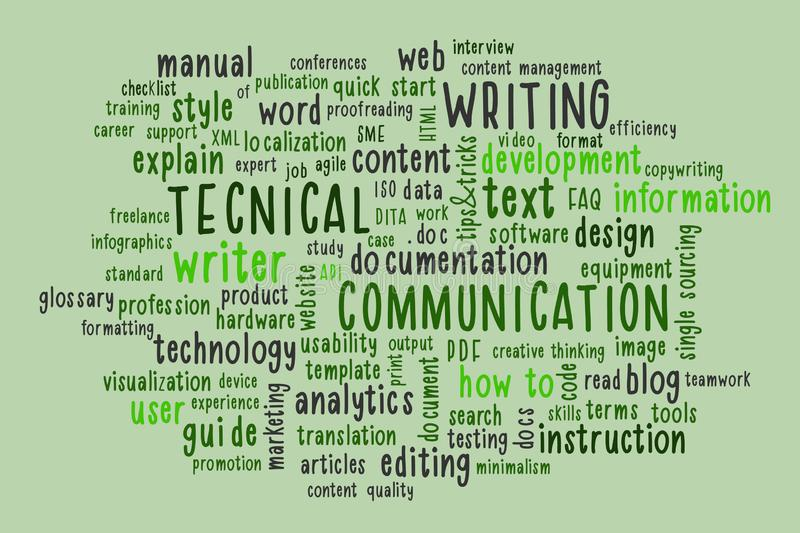 Technical writing word cloud. vector illustration