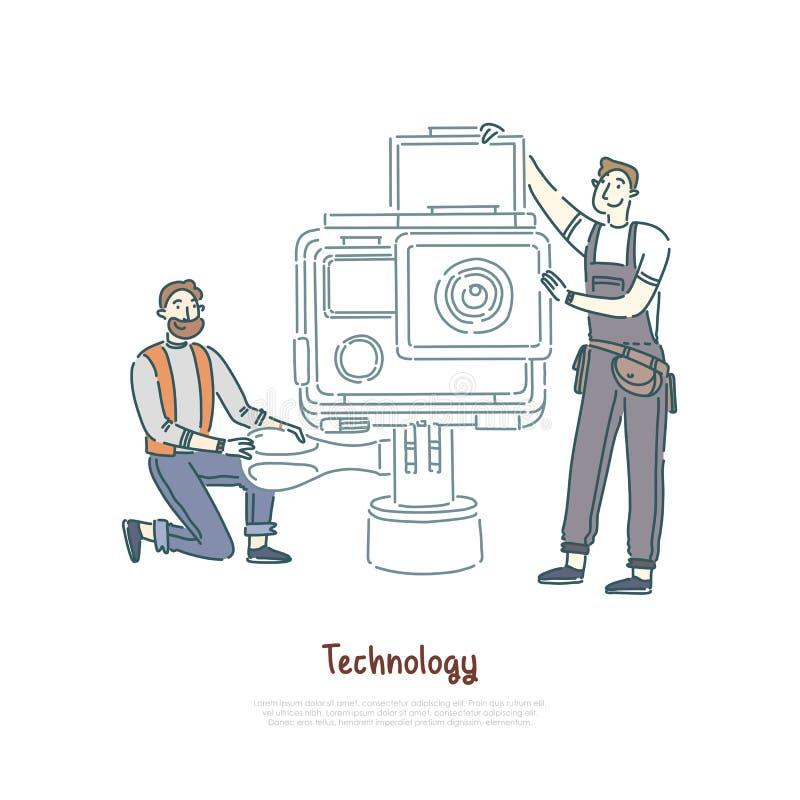 Technici die met hulpmiddelen, lens werken die, de het onderhoudsdienst van het fotografiemateriaal, reparatiewerkplaatsbanner ve stock illustratie