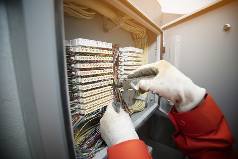 Technician checking electric board royalty free stock photos