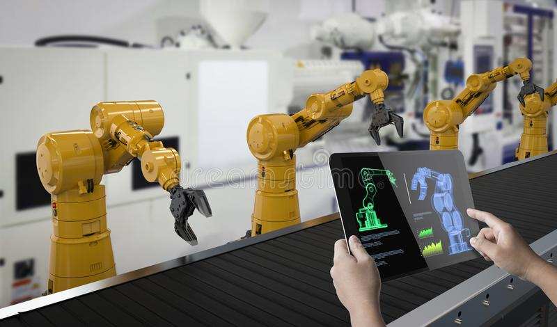 Technician control robot royalty free stock photography