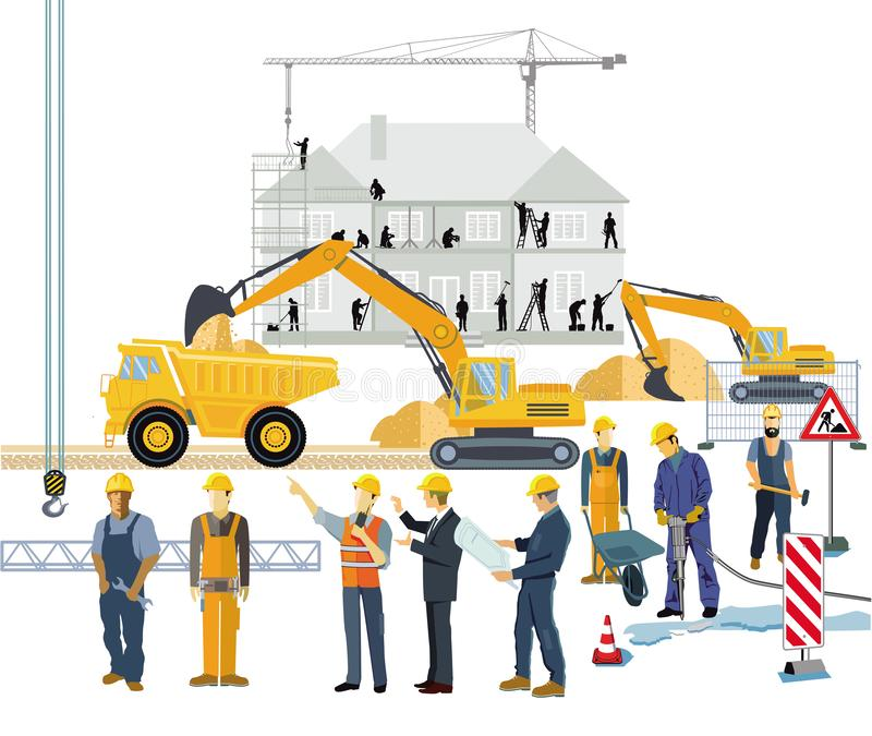 Cars in traffic jam at the intersection. Technician and craftsman in building a house, illustration stock illustration