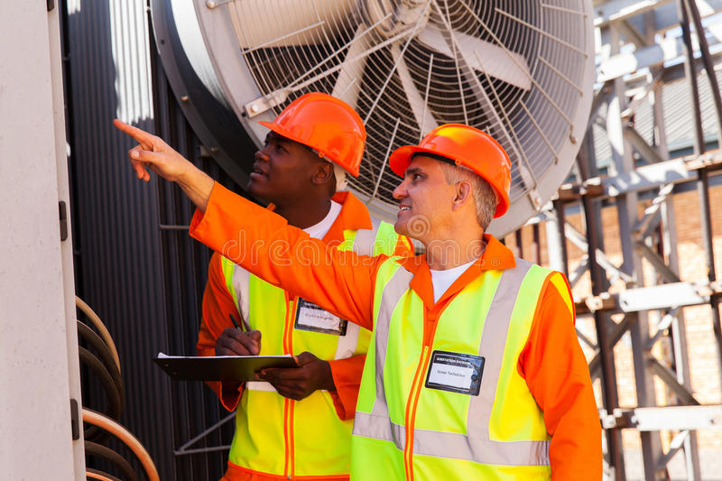 Technician and electrician royalty free stock photos