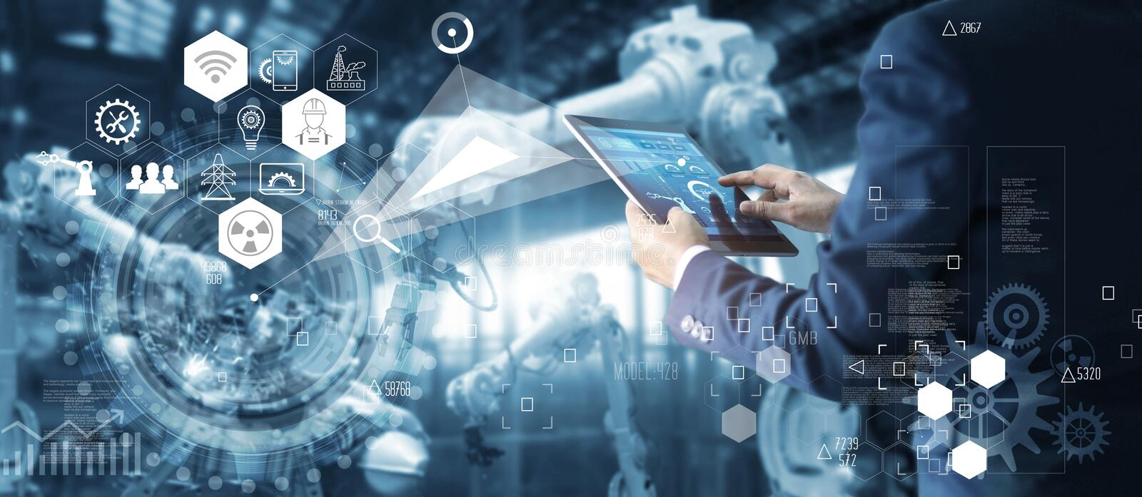 Engineer manager controlling robotics on motoring system stock image