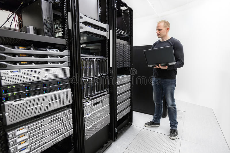 It technician monitors data center royalty free stock image