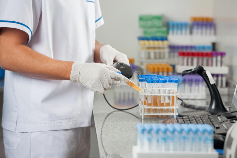 Technician Scanning Medical Sample In Laboratory royalty free stock photo