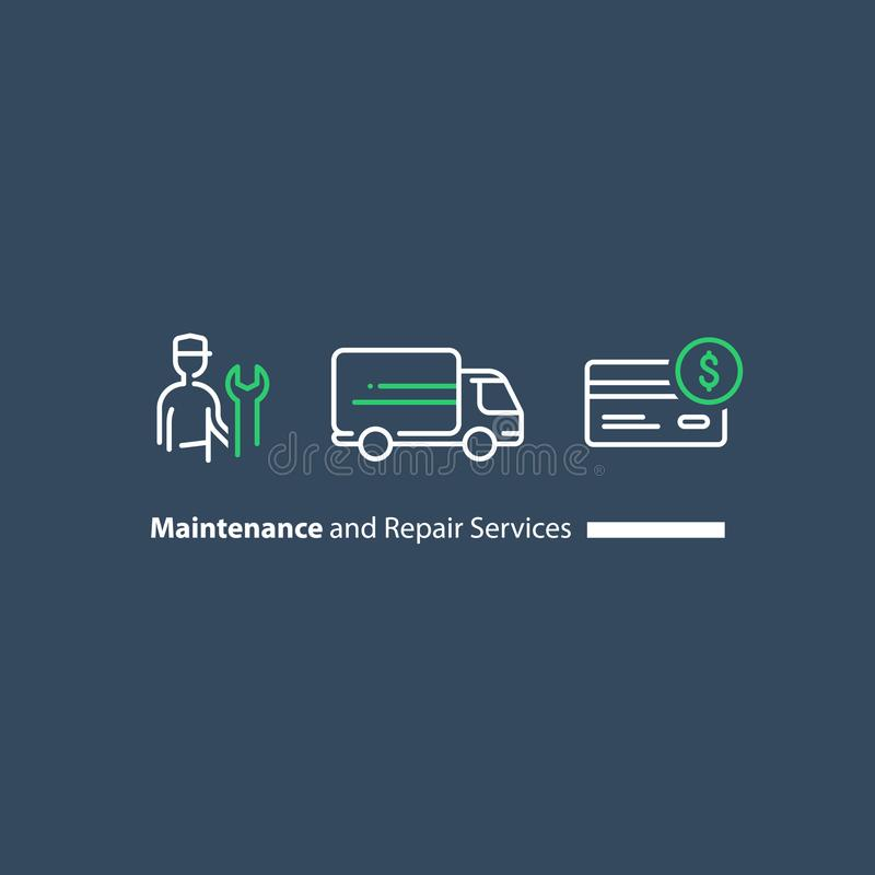 Technician with spanner, customer support, repairmen maintenance, truck delivery, credit card purchase icon set royalty free illustration