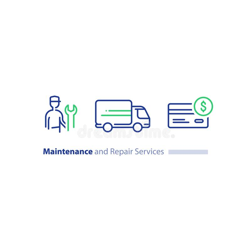 Technician with spanner, customer support, repairmen maintenance, truck delivery, credit card purchase icon set stock illustration